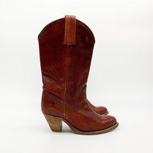 FRYE Western Roper Cowboy Boots Dark Cognac